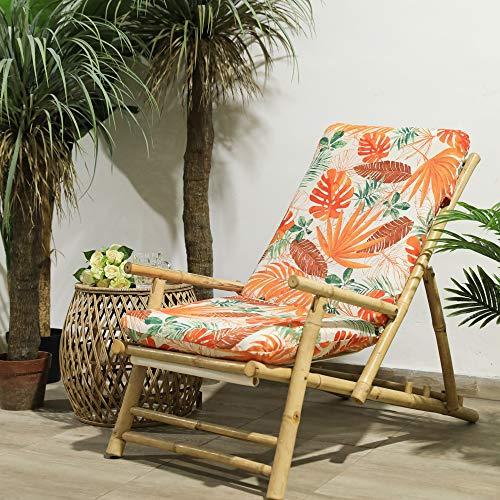 TIENDA EURASIA® Cojines para Sillas de Terraza - 6 Estampados Tropicales - Cojín Acolchado Relleno de Fibr (Tropical 6, 120 x 50 x 10 cm)
