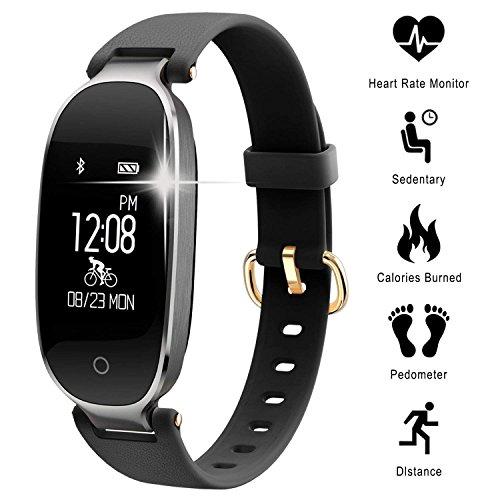 C-Xka Damen-Fitness-Tracker mit Herz-Monitor-Schlaf-Monitor, Sport-Aktivitäts-Tracker IP67 wasserdichte Bluetooth-Pedometer-Uhr mit Anruf-APP-Mitteilungs-Anzeige kompatibles IOS und Android-Smartphone