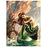 WANGHH Cartoon Mermaid 5d DIY Full Square Diamond Pintura Completa Novedad Mosaico Punto de Cruz Bordado Set Sea Fairy - 40x50cm sin marco