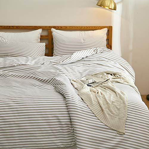 SUNNEEHOME Striped Duvet Cover Sets 3 Pieces, Zipper Closure Soft Microfiber Comforter Cover, Beige...