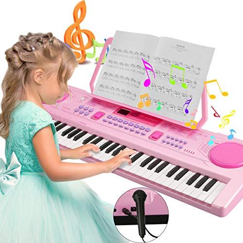 Magicfun Digital Keyboard, Digital Piano Mit 61 Tasten, Tragbare Elektronische Klaviertastatur inklusive Notenhalter Mikrofon, Spielzeug Geschenk für Kinder und Einsteiger (Rosa)