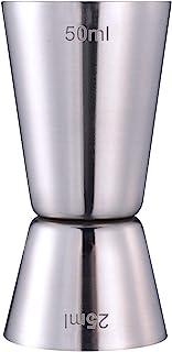 Taza Medidora de Cóctel, 25 ml/50 ml Medidor Doble de Bebida Jigger, Efecto Pulido, Acero inoxidable