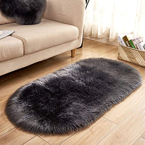 Soft Fluffy Area Rug Faux Fur Carpet Chair Couch Cover for Bedroom Floor Sofa Living Room (1,32ft, Dark Gray)