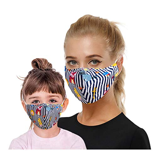 Best Price Wenini 2 Pack Parent-Child Cartoon_Face_Mask Bnadanas with Filter Pocket Hole, Fashion Ka...