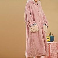 パーソナルケア女性ドレッシングガウン、レディースフリースパーカーガウンバスローブピンクの雲ポケットボタン毛むくじゃらの柔らかいナイトウェア冬の厚く暖かいぬいぐるみラウンジウェアロングローブ