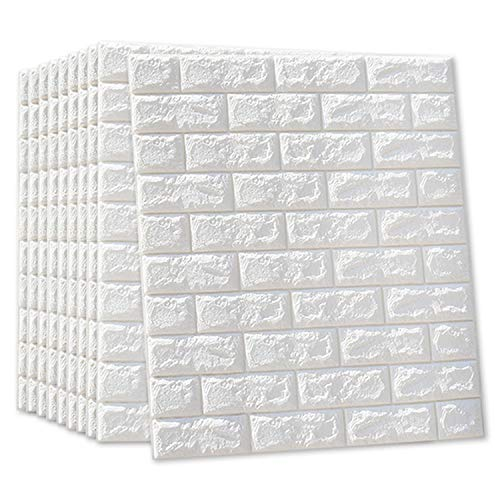 MYOYAY 3D Wall Panels White Foam Brick 10 Packs Peel and Stick Wallpaper Adhesive Textured Brick Tiles for Living Room Bedroom Background Wall Decor Cover 57Sq.Ft
