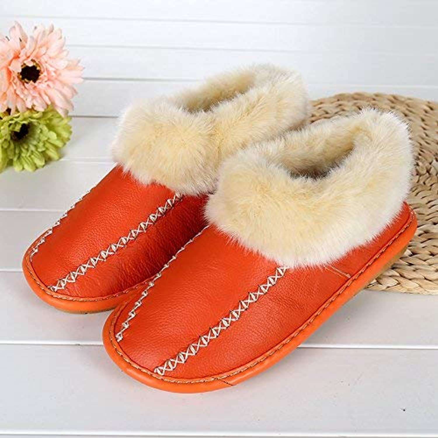 Lady Slippers Ladies Casual Faux-Leather Padded Slippers Home Warm in Autumn and Winter Solid color Super Soft Plush Indoor Slippers Size 38