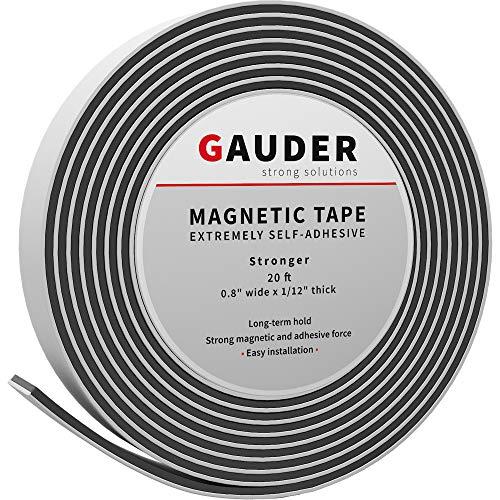 GAUDER Magnetband selbstklebend | Magnetstreifen mit extra starkem Kleber | Magnetklebeband (20mm x 6m)