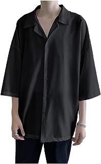 [フローライズ] オープン カラー 開襟 シャツ メンズ 五分袖 ビッグ シルエット 大きい サイズ サテン風 ドロップ ショルダー 無地