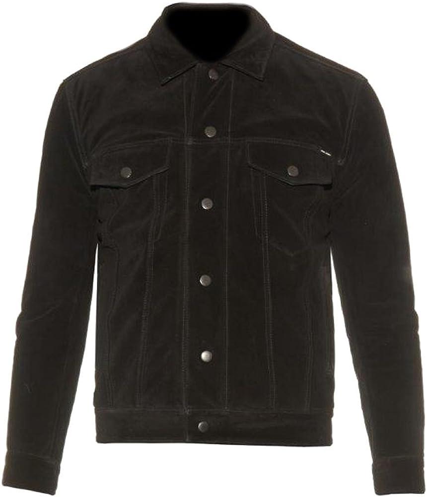 SleekHides Men's Fashion Suede Leather Button Closure Jacket Brown