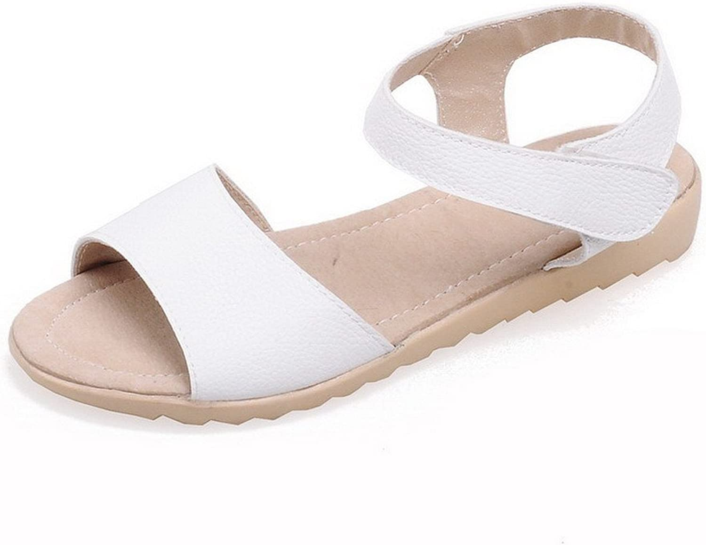 AmoonyFashion Women's Solid PU Low-Heels Open Toe Hook-and-Loop Sandals