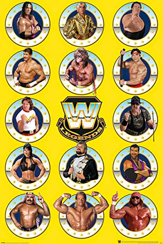 POSTER STOP ONLINE WWE Legends - TV Wrestling Poster (The Legends - Bret Hart, Randy Savage, Andre The Tiant, Razor Ramon, Rowdy Roddy Piper...) (Size 24 x 36')