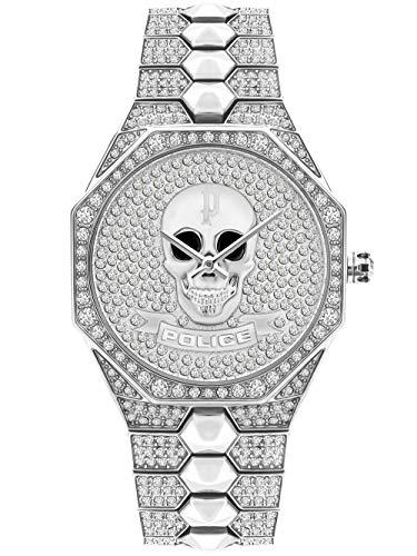 Police Unisex Erwachsene Analog Quarz Uhr mit Edelstahl Armband PL16027BS.04M