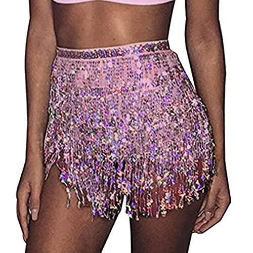 Mayelia Falda Rave con flecos y lentejuelas, falda con borla, danza del vientre, bufanda de cadera, traje rave para mujeres y niñas, rosa, 40W regular