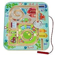 Haba 301056 - Magnetspiel Stadtlabyrinth, pädagogisches Holzspielzeug für Kinder ab 2 Jahren, schult die Logik und Feinmotorik