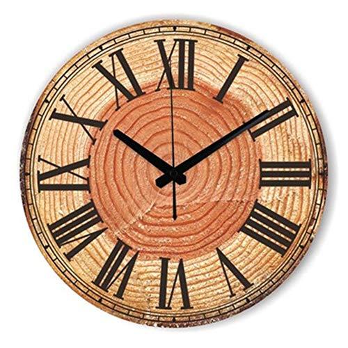 FOOSKOO Wall Clocks Horloge Murale Style rétro Vintage Vintage muet Grande Horloge Murale Montre Shabby Chic Home Decor Salon 16 Pouces / 40 cm (Conception : F)