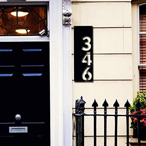 Letrero de metal para casa, número de casa vertical, regalo de inauguración de la casa, decoración de pared de metal de 60,96 cm