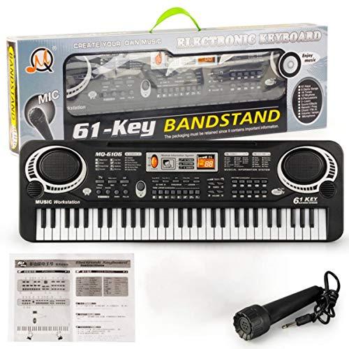 Greatangle 61 Tasten Musik Elektronische Digitale Tastatur Elektrische Orgel Kinder Große Geschenke Mit Zufälligem Mikrofon Musikinstrument Schwarz und Weiß