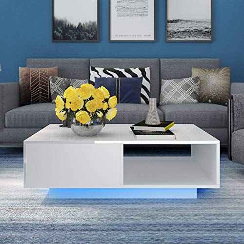 GORVELL High Gross Coffee Table With Drawer, Blue LED Living Room Sofa Side Table Storage Cabinet, Entertainment Room, Office, L95x W55 x H31cm,Warm White