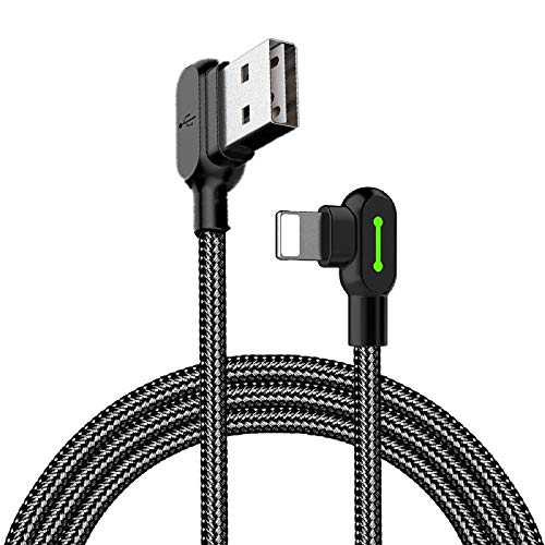Mcdodo Right Angle USB Cable with Led Light,90 Degree Charging Cable Nylon Braided Reversible USB Fast Data Sync Charger Connector Adapter,work with Phone11 pro Max XR X 8 7 Plus (1.6ft)