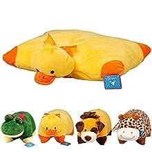 La almohada mascota - Cojín infantil de peluche suave. Almohada para niños con la forma de su animal favorito (Pato 35 x 45)