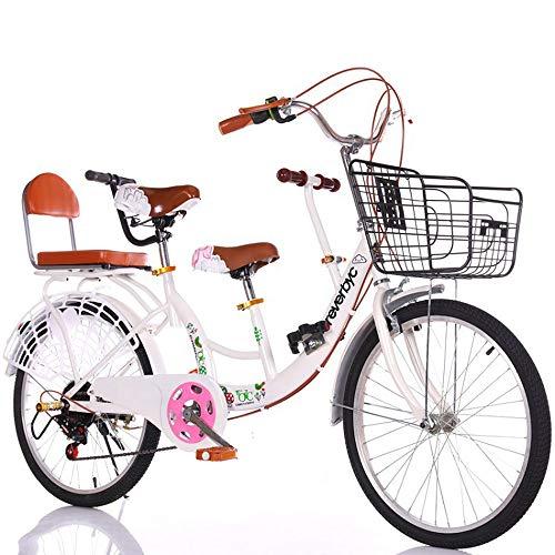 FLYFO Bicicleta para Padres E Hijos De Dos Personas,22 Pulgadas, Velocidad Variable Que Puede Llevar A Niños 2 De Madre E Hijo para Hombres Y Mujeres,Tándem De Viaje,Blanco