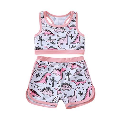 upxiang Costume da Bagno Bambina Ragazzine in Due Pezzi Stampa Cartoon Senza Manica Spiaggia Mare Piscina Costume Estivo Bambina Set 0-4 Anni
