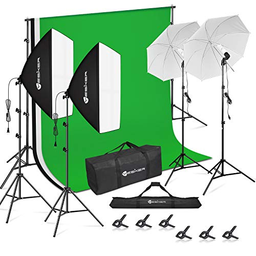 Yesker Photography Video Studio Lighting Kit 8.5 x 10 ft Background Support System Backdrop Umbrellas Softbox Continuous Lighting Kit for Portrait, Product and Video Shoot Photography