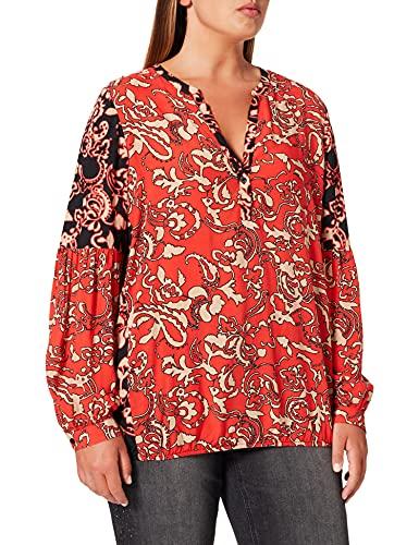 Samoon Damen 1/1 Arm Bluse, Black Gemustert, 50