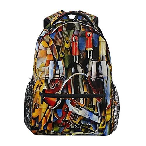 HaJie - Mochila de viaje con estampado de copa de vino, mochila de gran capacidad, casual, para escuela, libros, bandoleras, ordenador portátil, para mujeres, hombres, adolescentes y niños