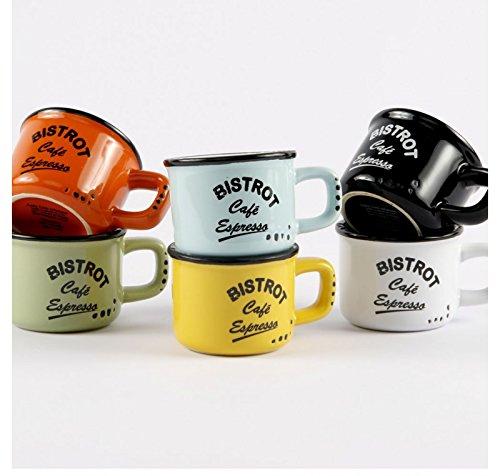 Juego de 6 tazas de café expreso, 6 colores