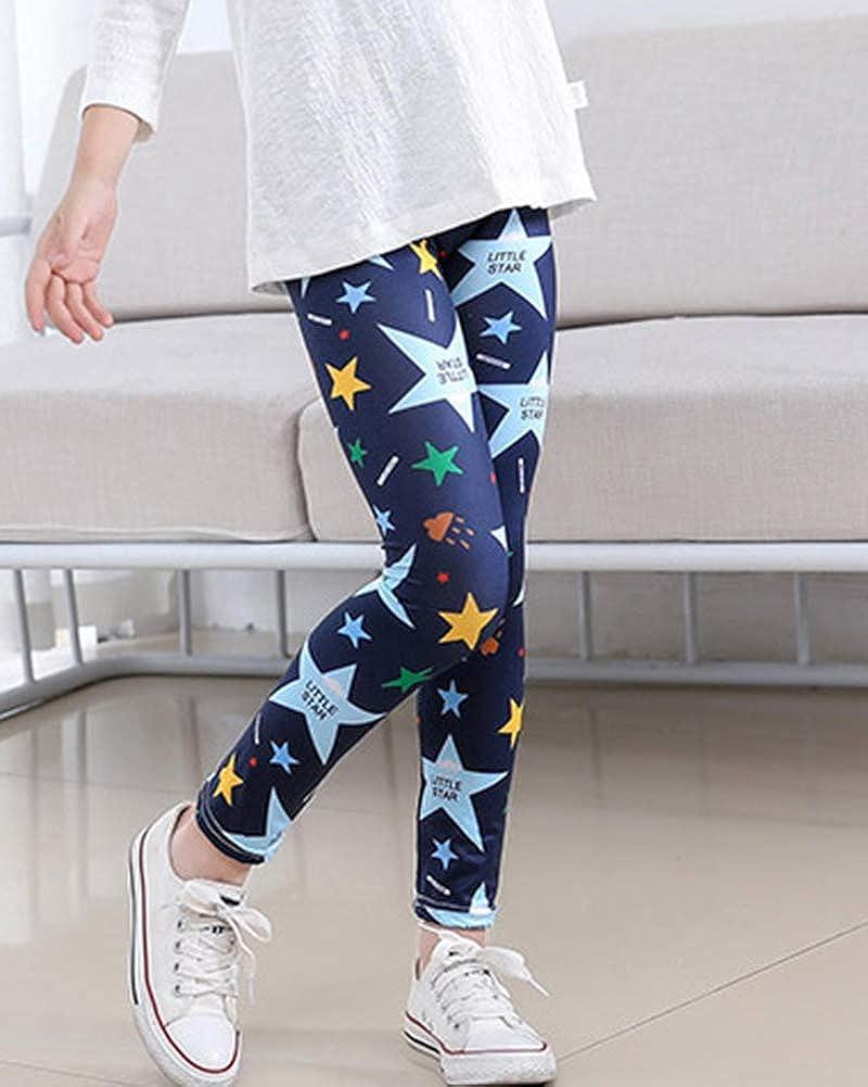 Bambina Stretch Leggings Stampa Pantaloni Collant Calzamaglie Casual per 8-12 Anni