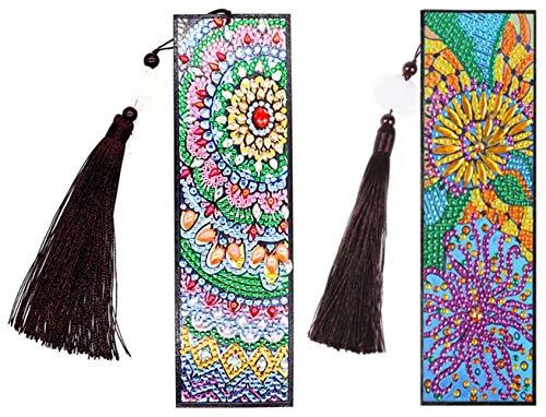 Mandala Flower Bookmark Diamond Painting - pigpigboss 2 Packs DIY Bookmark Diamond Painting Kit Flower Bookmark Leather Tassel Diamond Painting Arts Crafts Kit Birthday Gift for Adult Kids (21 x 6 cm)
