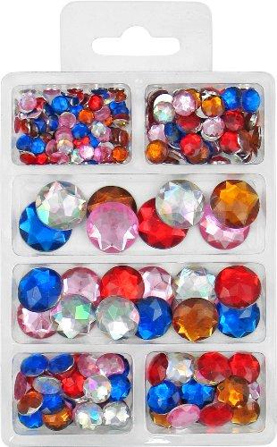 Diamanten sierstenen diamanten sierstenen kleurrijk gesorteerd plat in 6 maten - 6,8,10,12,16 en 18 mm, ca.230 stuks.