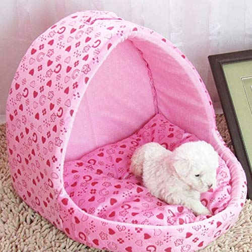 Dog Bed Kennel Cat Bed Warm Creative Yart Shape House Pet Portable Basket, Size: S, 30 * 31 * 31cm (Color : Magenta)
