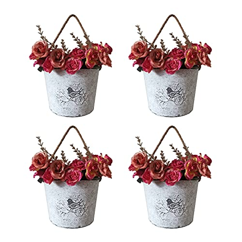 Vasi da Parete, 4 Pz Alclud Vasi da Esterno e Interno Fioriere da Vintage per Appendere Parete Balcone Recinzione Garden Home Decor