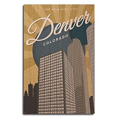 Denver, Colorado - Vector City (10x15 Wood Wall Sign, Wall Decor Ready to Hang)