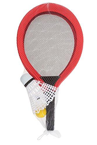 Idena 40003 - Softballspiel mit XXL Federball und 2 weiteren Bällen, ca. 67 cm, in zwei Farbvarianten, sortiert, ideal im Sommer für Garten, Park oder Strand