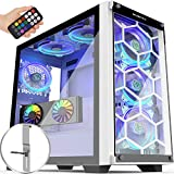 MUSETEX 2× USB 3.0,6 PCS ARGB Fans,Mid-Tower Case,Tempered Glass Panels,Voice Remote Control,PC Gaming Case Computer Chassis Support E-ATX