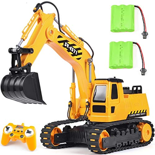 DOUBLE E Remote Control Excavator Toy 2 Rechargeable Batteries RC Hydraulic Excavator Tractor Construction Toy Vehicles for Boys Girls Kids