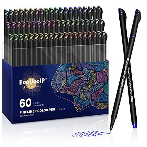 Rotuladores Coloring para niños, EooUooIP 60 Colores Bolígrafos Para Colorear Plumas de Línea Fina con Punta Fina de 0,4 mm, Perfecto para Manualidades, Pintar Mandalas o Material Escolar