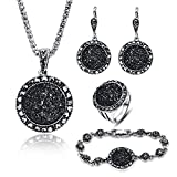 LUYUAN JEWELRY 4 Packs Hoop Pendant Simulated Diamond Sparkly Jewelry Sets with Bracelet - Ring Size #8