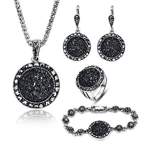 LUYUAN JEWELRY Luyuan joyería 4pcs Negro Joyería Set para las mujeres Diamond Ágata Drusy colgante mujeres collar pendientes anillo y pulsera boda joyas