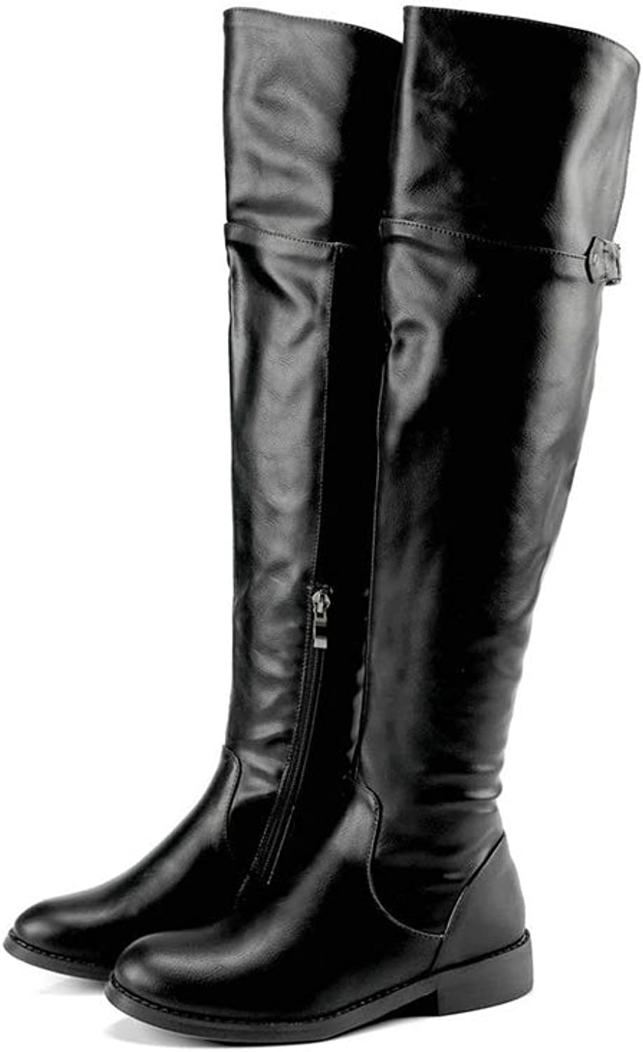 Women Boots Zipper Round Toe Knee-high Boots Square Low Heels Western Style Thigh High Riding Booties