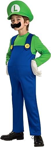 Super Mario Luigi Deluxe Kinderkostüm - Large 140cm