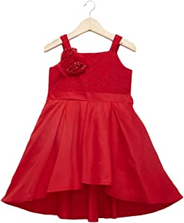 Hopscotch Baby Girls Cotton Floral Applique Sleeveless Party Dress in Red Color