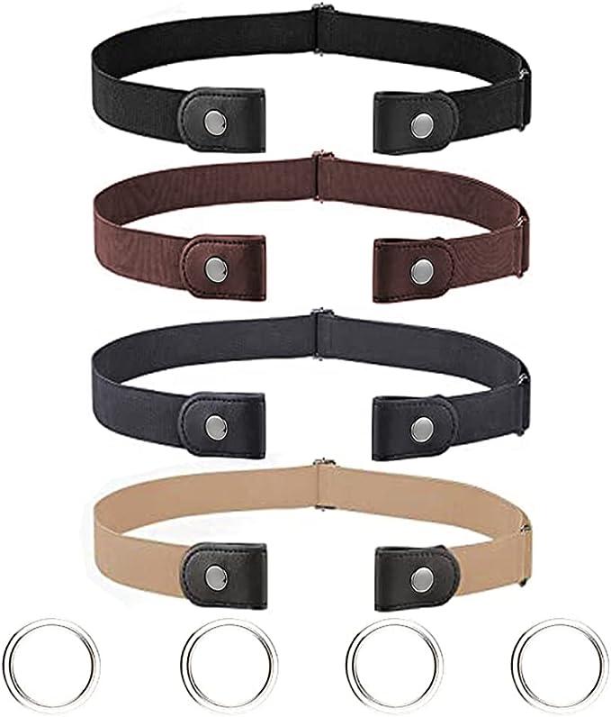 40 opinioni per 4 Pezzi Cintura Elastica Senza Fibbia | Cintura Invisibile da Donna Uomo Cintura
