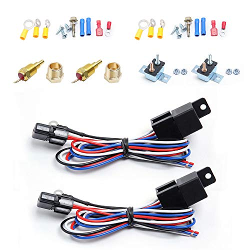 (2 PACK) Engine Electric Cooling Radiator Fan Thermostat Temperature Switch Relay Kit,175-185 Degree Temp Sensor Temperature Switch 40 Amp Sensor Relay kit