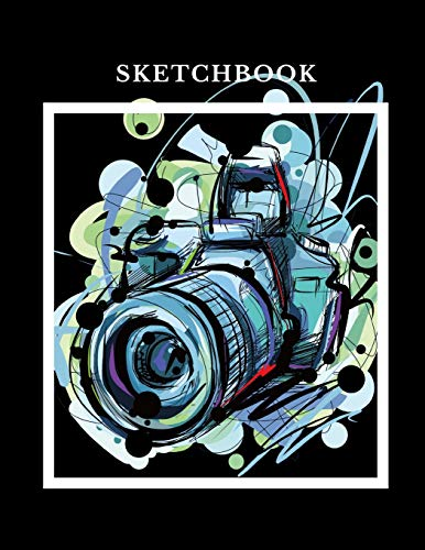 Sketchbook: A Professional Photo Camera Themed Personalized Artist Sketch Book Notebook and Blank Paper For Drawing, Painting Creative Doodling or Sketching.