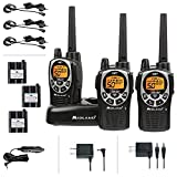 Midland 50 Channel Waterproof GMRS Two-Way Radio - Long Range Walkie Talkie with 142 Privacy Codes, SOS Siren, and NOAA Weather Alerts and Weather Scan (Black/Silver, 3-Pack)
